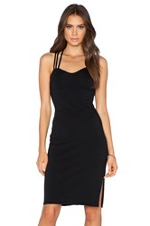 Bobi Heavy Spandex Criss Cross Back Dress Black