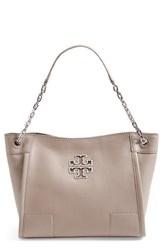 Tory Burch 'Small Britten' Leather Slouchy Tote Grey French Grey