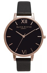 Olivia Burton Women's 'Big Dial' Leather Strap Watch 38Mm Black Black Rose Gold