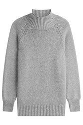 Max Mara Virgin Wool Turtleneck Pullover With Cashmere Grey