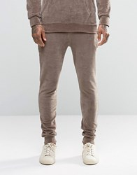 Criminal Damage Skinny Velour Joggers Brown