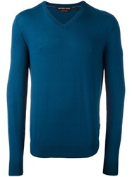 Michael Kors V Neck Pullover Blue