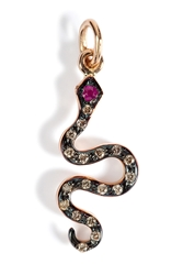 Ileana Makri Pink Gold Diamond Ruby Little Snake Pendant