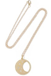 Andrea Fohrman Waning Waxing Moon Phase 14 Karat Gold Diamond Necklace