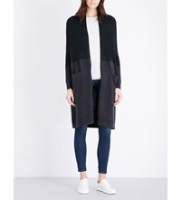 The White Company Colour Block Wool And Cotton Blend Cardigan Black