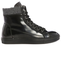 Armani Collezioni Black Glazed Leather Side Zip High Top Sneakers