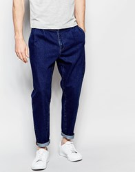 Asos Double Pleat Straight Leg Jean In Indigo
