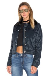 Cheap Monday Plot Jacket With Faux Fur Collar Navy