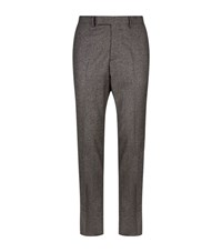 Gieves And Hawkes Houndstooth Wool Trousers Male Brown