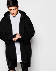 Asos Hooded Wool Parka Jacket With Faux Leather Trim In Black
