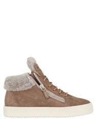 Giuseppe Zanotti 20Mm Shearling And Suede Sneakers