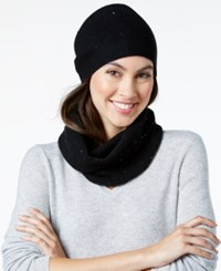 Charter Club Cashmere Sequined Hat And Infinity Scarf Set Only At Macy's Classic Black
