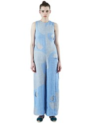 The Autonomous Collections Wide Leg Patchwork Jumpsuit Blue