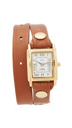 La Mer Leather Strap Wrap Watch Mocha
