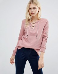 Only Amy Lace Up Sweatshirt Rose Pink