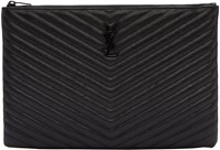 Saint Laurent Black Quilted Leather Document Holder