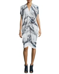Zero Maria Cornejo Issa Striped Stretch Silk Dress Cloudy Stripe