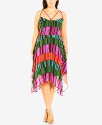 City Chic Plus Size Strappy Striped Tiered Dress Multi
