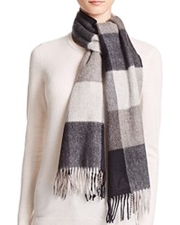 Bloomingdale's C By Cashmere Color Block Scarf Black Grays