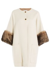 Agnona Reversible Wool Coat With Fur White