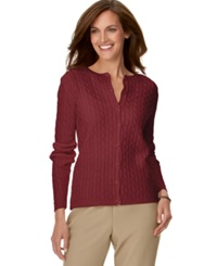 Alfred Dunner Petite Cable Knit Cardigan