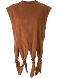 G.V.G.V. Knot Detail Faux Suede Top Brown