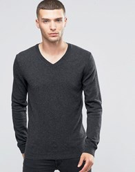 Sisley V Neck Jumper In Cashmere Blend Grey 508
