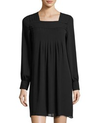 Max Studio Pleated Square Neck Shift Dress Black