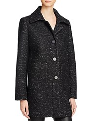 Elie Tahari Single Breasted Button Front Melange Coat Black