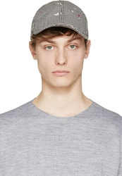 Carven Pink And Black Confetti Embroidered Cap