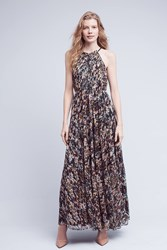 Anthropologie Larina Ruffled Maxi Dress Blue Motif