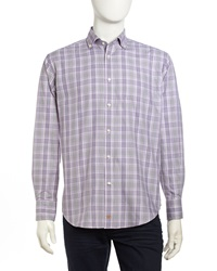 Thomas Dean Checked Houndstooth Woven Long Sleeve Sport Shirt Purple