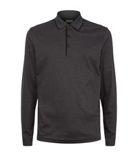 Hugo Boss Green Fine Stripe Polo Top Male Dark Grey