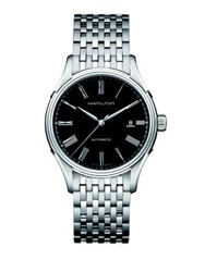 Hamilton American Classic Valiant Auto Stainless Steel Bracelet Watch Silver Black