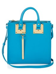 Sophie Hulme Square Albion Small Leather Tote Light Blue