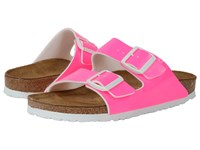 Birkenstock Arizona Neon Pink Patent Birko Flor Women's Dress Sandals