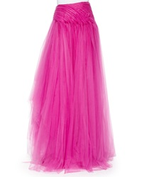 Ralph Lauren Layered Tulle Long Skirt Fuchsia