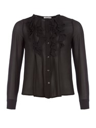 Relish Ruffled Blouse With Contrasting Trims Black