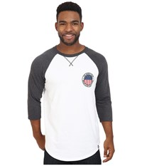 The North Face 3 4 Sleeve Usa Baseball Tee Tnf White Tnf Dark Grey Heather Men's Clothing
