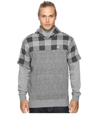 Staple Check Hoodie Heather Grey Men's Sweatshirt Gray