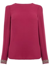 Oasis Embellished Cuff Top Burgundy