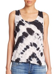 Young Fabulous And Broke Eli Tie Dye Twist Back Tank Top Black Chevron Stripe