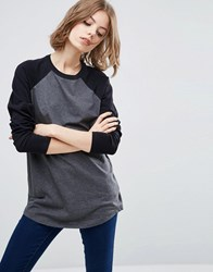 Asos Longline T Shirt With Contrast Sleeve Charcoal Marl Black Grey