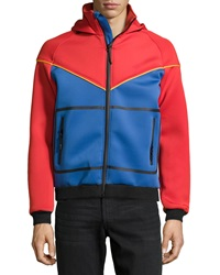American Stitch Hooded Scuba Colorblock Jacket Red Blue