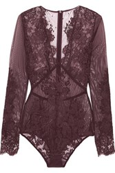 I.D. Sarrieri Chantilly Lace And Stretch Tulle Bodysuit Burgundy