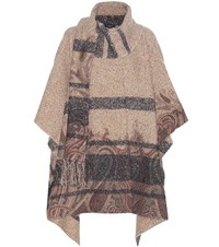 Etro Knitted Wool And Silk Blend Poncho Brown
