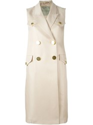 Ermanno Scervino Sleeveless Trench Coat Nude And Neutrals