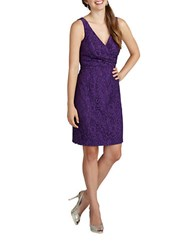 Donna Morgan Floral Lace Surplice Sheath Dress Purple Dahli