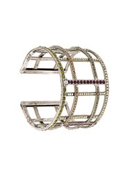 Chanel Vintage Crystal Trussed Cuff Metallic