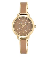 Anne Klein Goldtone Mixed Metal And Leather Bangle Watch Ak2436tngb